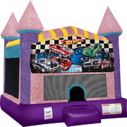 Hot Wheels Inflatable Bounce house with Basketball Goal Pink