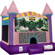 Hulk Inflatable bounce house with Basketball Goal Pink