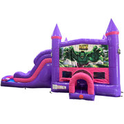 Hulk Dream Double Lane Wet/Dry Slide with Bounce House