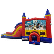Ice Age Double Lane Dry Slide with Bounce House