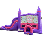 Ice Cream Dream Double Lane Wet/Dry Slide with Bounce House