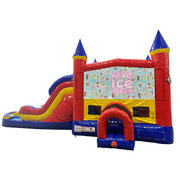 Ice Cream Double Lane Dry Slide with Bounce House