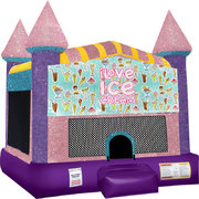 Ice Cream Inflatable bounce house with Basketball Goal Pink