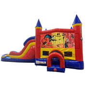 Incredibles Double Lane Water Slide with Bounce House