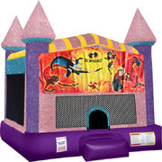 Incredibles Inflatable bounce house with Basketball Goal pink