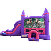 Jurassic Park Dream Double Lane Wet/Dry Slide with Bounce House