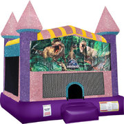 Jurassic Park Inflatable Bounce house with Basketball Goal Pink