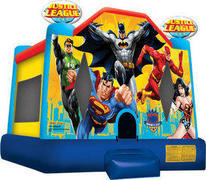 A Justice League Inflatable Bounce House