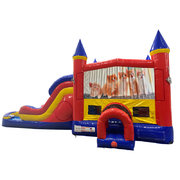 Kitty Cats Double Lane Dry Slide with Bounce House
