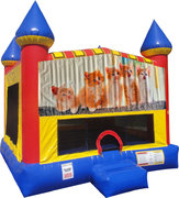 Kitty Cats Inflatable Bounce house with Basketball Goal