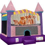 Kitty Cats Inflatable Bounce house with Basketball Goal Pink