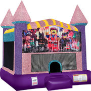 LEGOs Inflatable Bounce house with Basketball Goal Pink