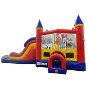 Lady and the Tramp Double Lane Water Slide with Bounce House