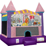 Lady and the Tramp Inflatable bounce house with Basketball Goal Pink