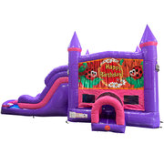 Ladybug Dream Double Lane Wet/Dry Slide with Bounce House