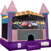 Lamborghini Inflatable bounce house with Basketball Goal Pink