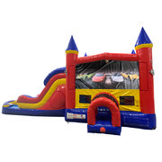 Lamborghini Double Lane Water Slide with Bounce House
