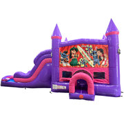 Lilo and Stitch Dream Double Lane Wet/Dry Slide with Bounce House