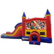 Lilo and Stitch Double Lane Dry Slide with Bounce House