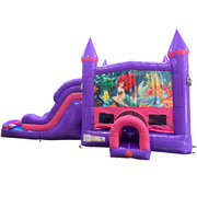 Little Mermaid Dream Double Lane Wet/Dry Slide with Bounce House