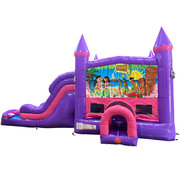 Luau Dream Double Lane Wet/Dry Slide with Bounce House