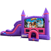 Madagascar Dream Double Lane Wet/Dry Slide with Bounce House