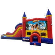 Madagascar Double Lane Water Slide with Bounce House