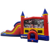 Monster Truck 2 Double Lane Water Slide with Bounce House