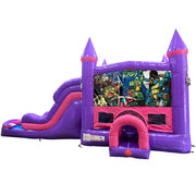 Ninja Turtles Dream Double Lane Wet/Dry Slide with Bounce House