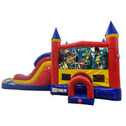 Ninja Turtles Double Lane Water Slide with Bounce House