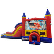 Patriotic Double Lane Water Slide with Bounce House