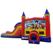 Paw Patrol Double Lane Water Slide with Bounce House