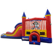 Pirates Adventure Double Lane Dry Slide with Bounce House