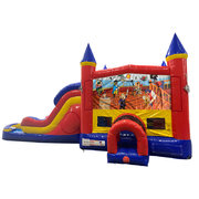 Pirates Double Lane Water Slide with Bounce House