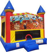 Pirates Inflatable bounce house with Basketball Goal