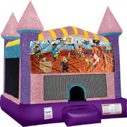 Pirates Inflatable bounce house with Basketball Goal Pink