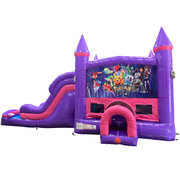 Pokemon Dream Double Lane Wet/Dry Slide with Bounce House Combo