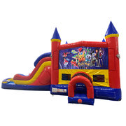 Pokemon Double Lane Water Slide with Bounce House