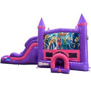 Power Rangers Dream Double Lane Wet/Dry Slide with Bounce House