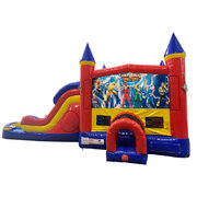 Power Rangers Double Lane Dry Slide with Bounce House