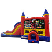 Race Cars Double Lane Dry Slide with Bounce House
