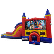 Rock Star Double Lane Water Slide with Bounce House