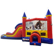Secret Life of Pets Double Lane Water Slide with Bounce House