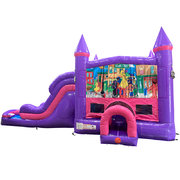 Sesame Street Dream Double Lane Wet/Dry Slide with Bounce House