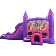 Shopkins Dream Double Lane Wet/Dry Slide with Bounce House