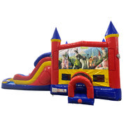 Shrek Double Lane Dry Slide with Bounce House