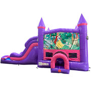 Snow White Dream Double Lane Wet/Dry Slide with Bounce House