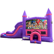 Sonic Dream Double Lane Wet/Dry Slide with Bounce House