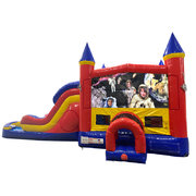 Space Kids Double Lane Water Slide with Bounce House