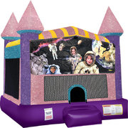 Space Kids Inflatable bounce house with Basketball Goal Pink